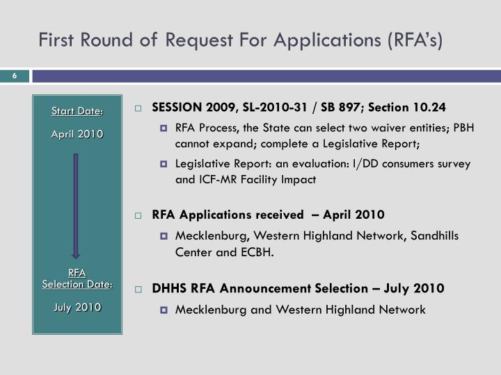 First Round of Request For Applications (RFA's)