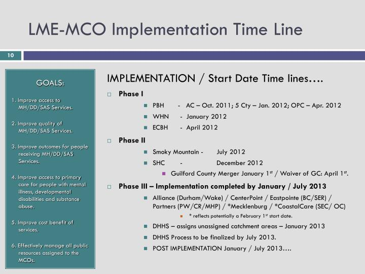 LME-MCO Implementation Time Line
