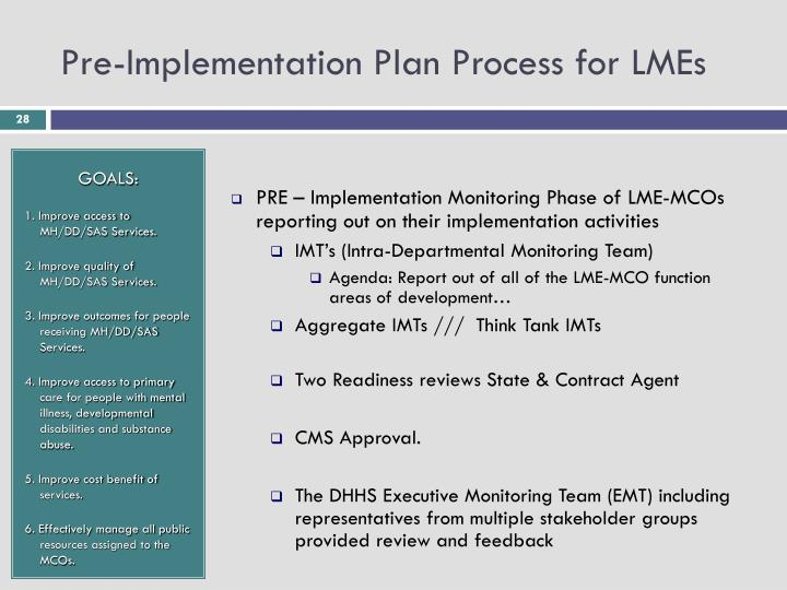 Pre-Implementation Plan Process for LMEs