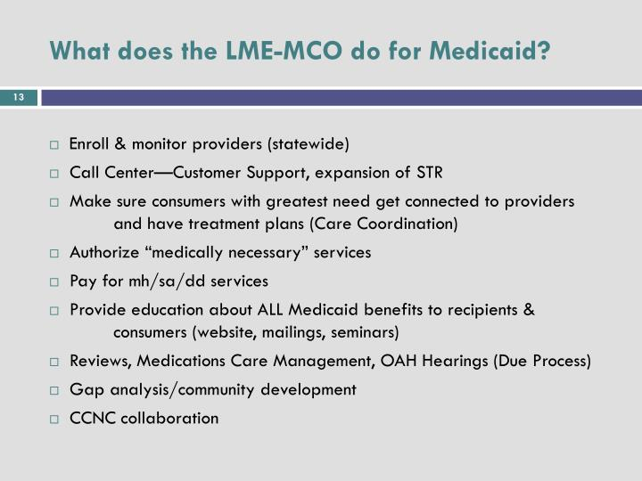 What does the LME-MCO do for Medicaid?