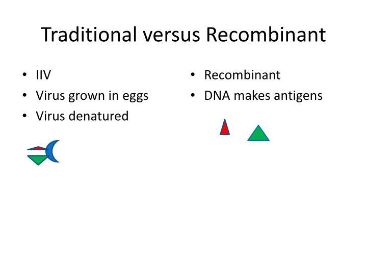 Traditional versus Recombinant