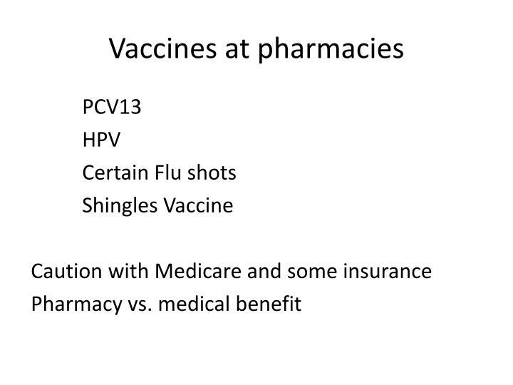 Vaccines at pharmacies