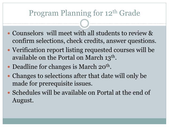 Program Planning for 12