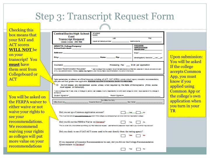 Step 3: Transcript Request Form