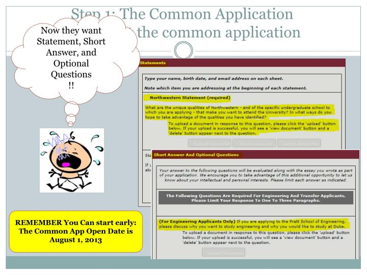 Step 1: The Common Application