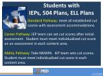 students with ieps 504 plans ell plans