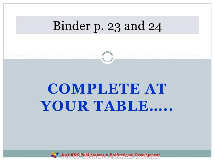 Binder p. 23 and 24