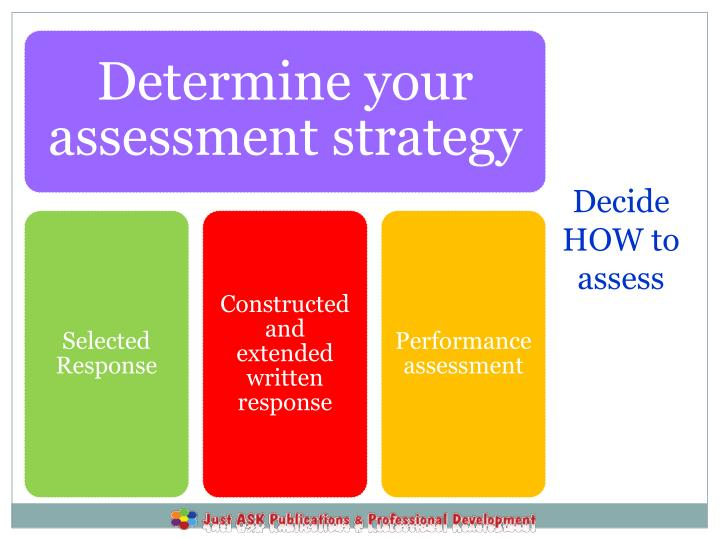 Decide HOW to assess