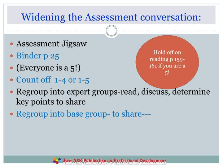 Widening the Assessment conversation: