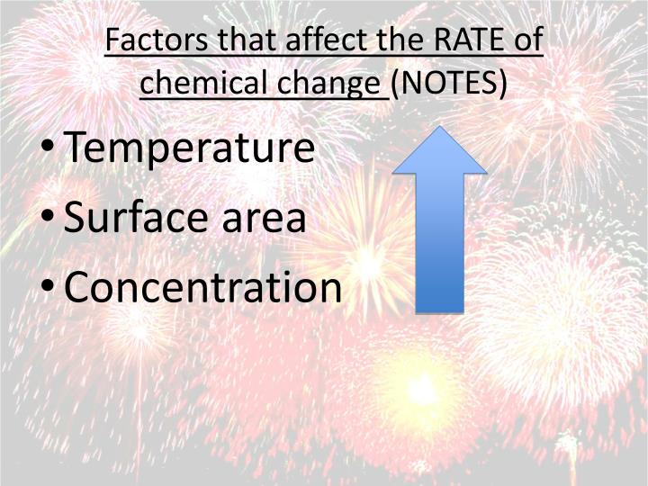 Factors that affect the RATE of chemical change
