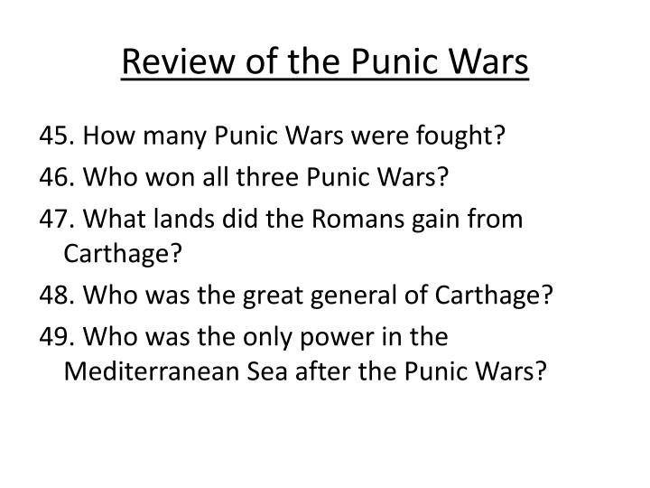 a review of the punic wars History book reviews history dvd reviews articles ancient history home articles ancient history & civilisation hannibal and the punic wars hannibal's elephants: myth and reality hannibal's elephants: myth and reality 18 may 2013 by yozan particularly the period of the punic wars.