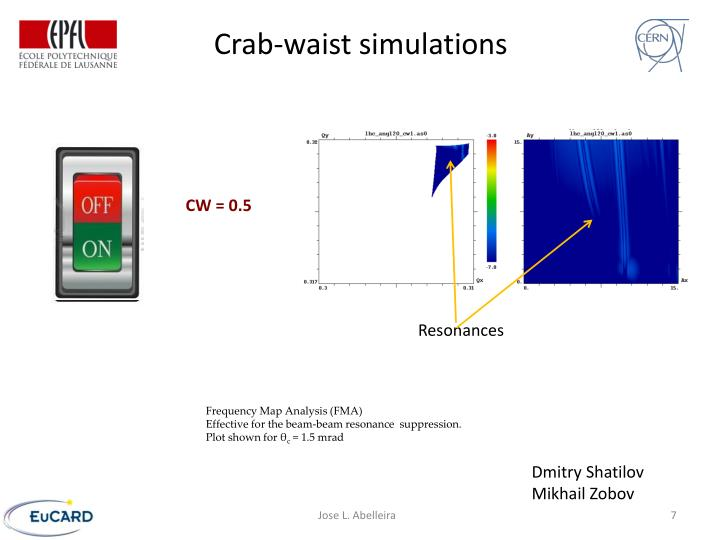 Crab-waist simulations