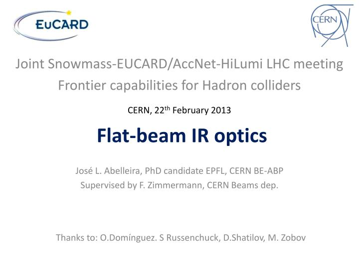 Flat beam ir optics