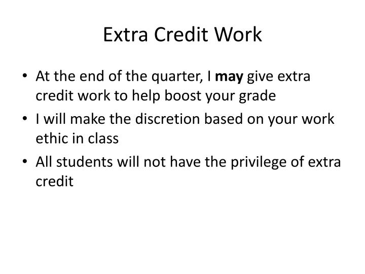 Extra Credit Work