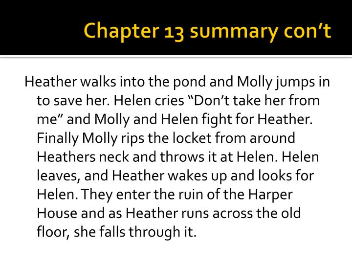 Chapter 13 summary con't