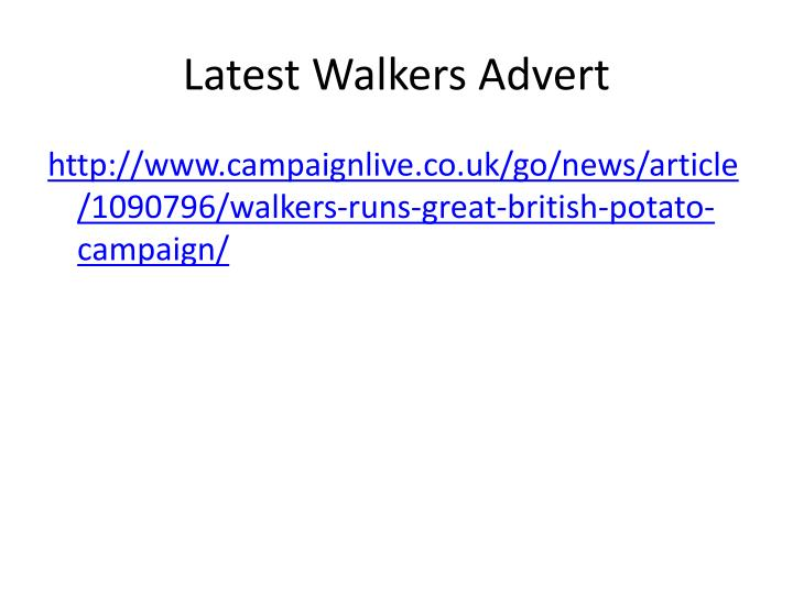 Latest Walkers Advert