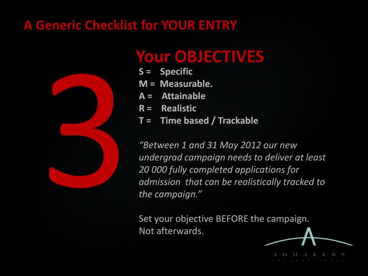 A Generic Checklist for YOUR ENTRY