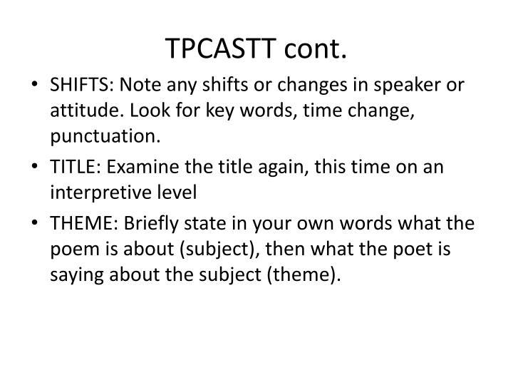 TPCASTT cont.