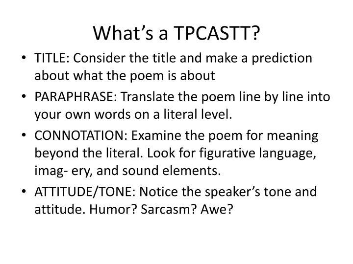 What's a TPCASTT?