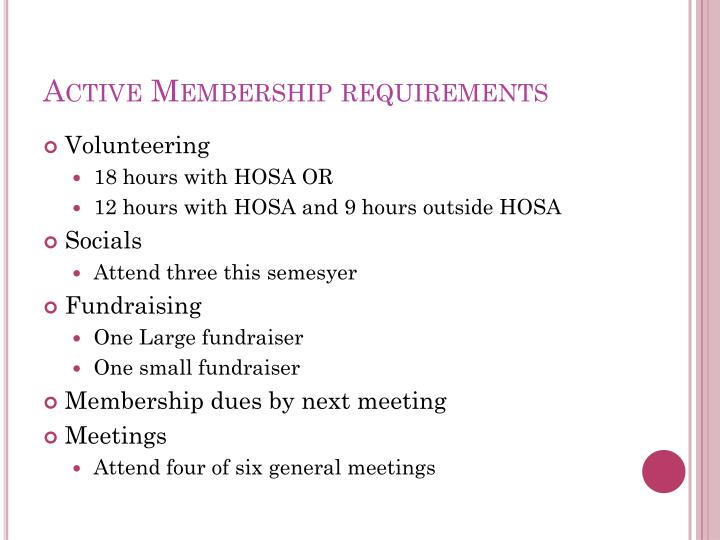 Active Membership requirements