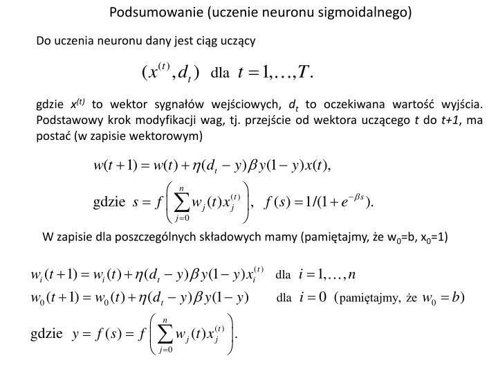 Podsumowanie (uczenie neuronu