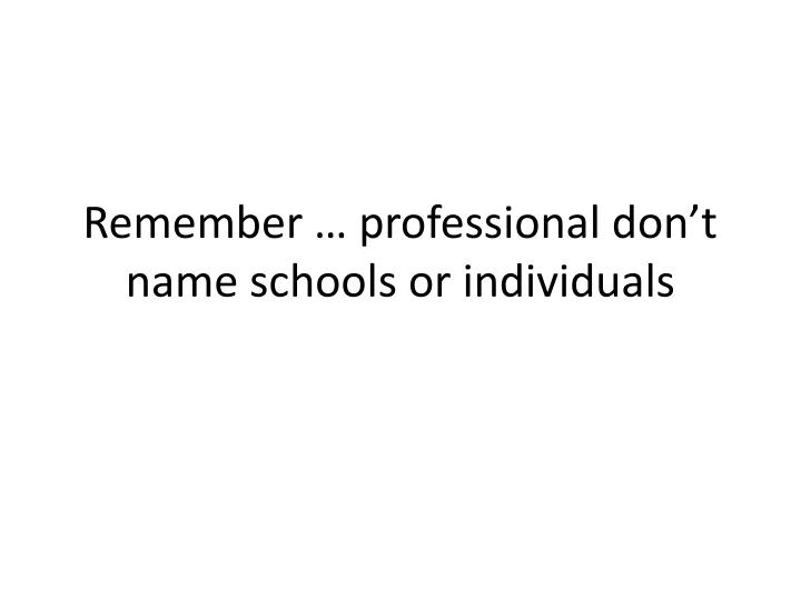 Remember professional don t name schools or individuals