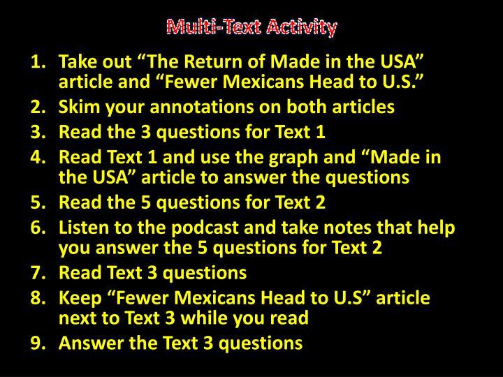 Multi-Text Activity