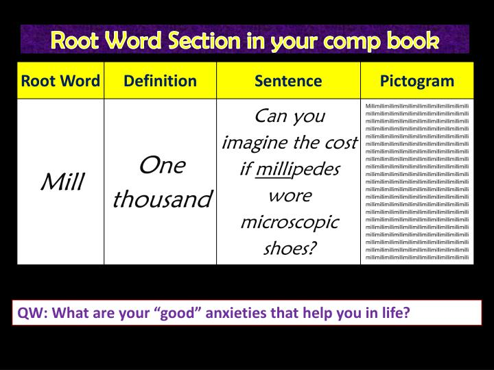 Root Word Section in your comp book