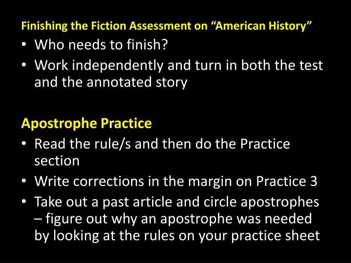 Finishing the Fiction Assessment on
