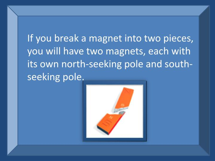 If you break a magnet into two pieces, you will have two magnets, each with its own north-seeking pole and south-seeking pole.