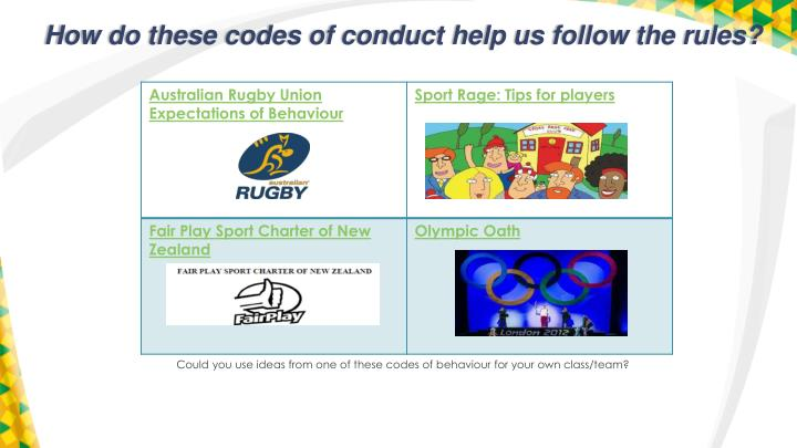 How do these codes of conduct help us follow the rules?