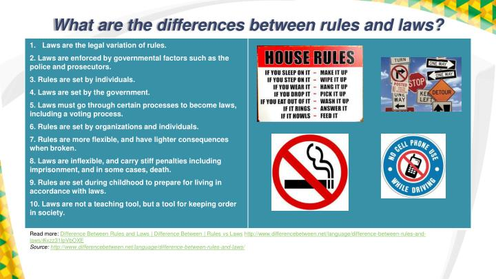 What are the differences between rules and laws?