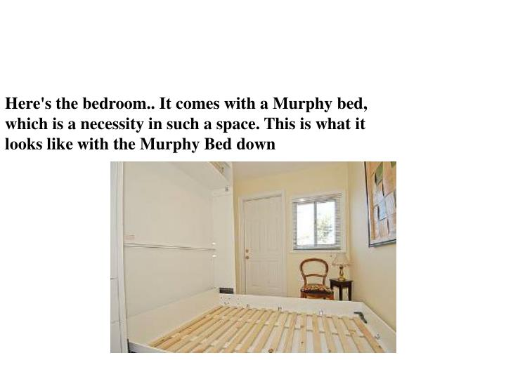 Here's the bedroom.. It comes with a Murphy bed,