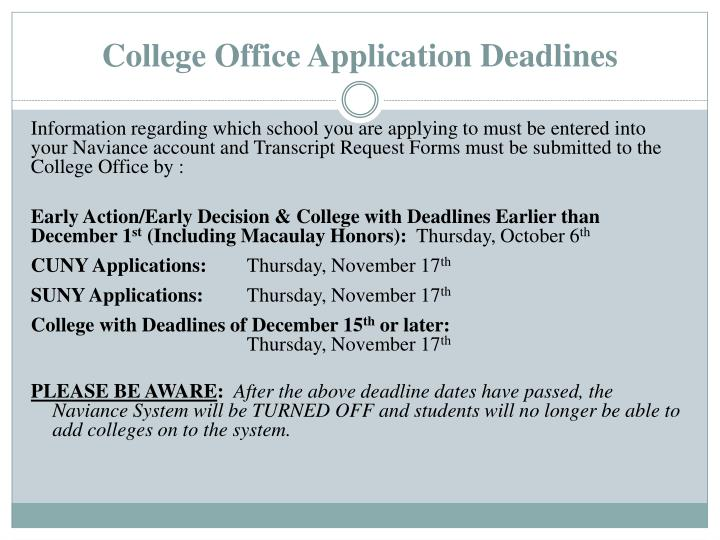 College Office Application Deadlines