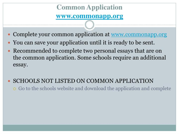 Complete your common application at