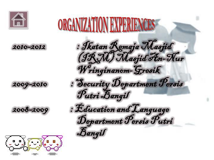 ORGANIZATION EXPERIENCES