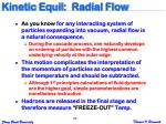 kinetic equil radial flow