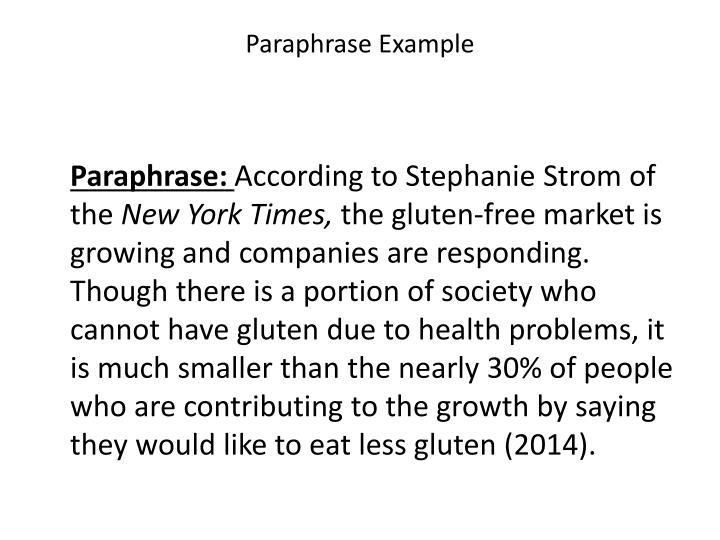 Paraphrase Example