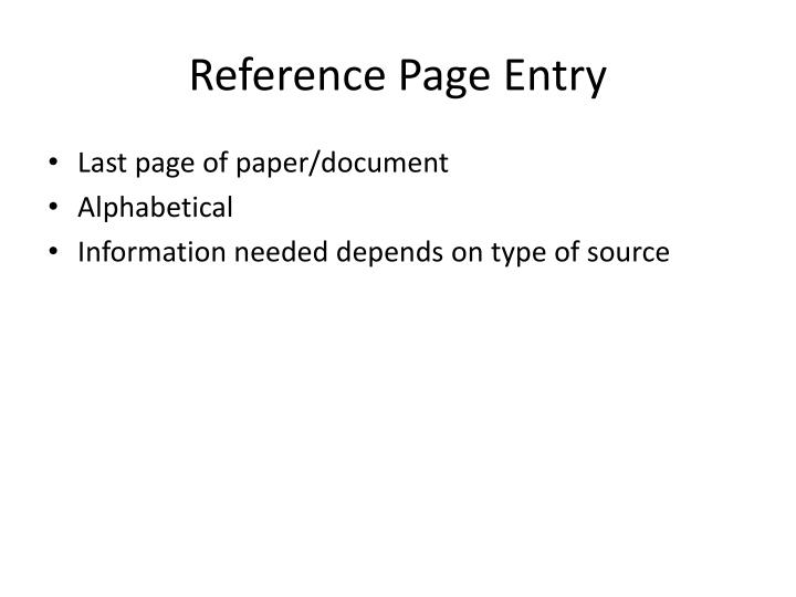 Reference Page Entry