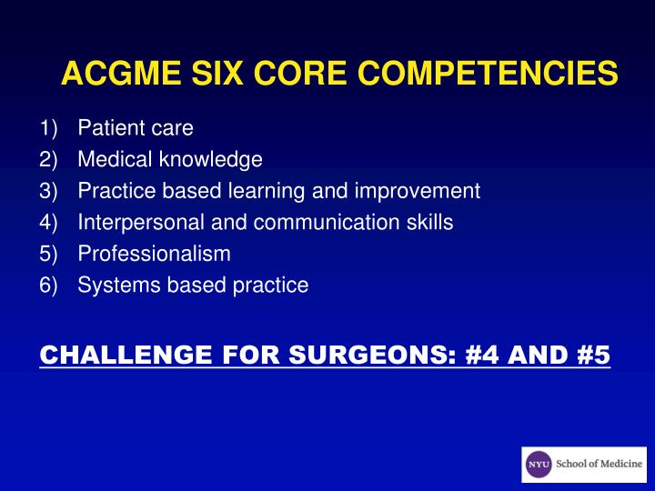 Acgme six core competencies
