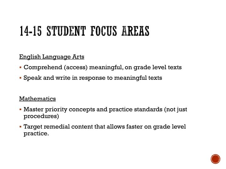 14-15 Student Focus Areas
