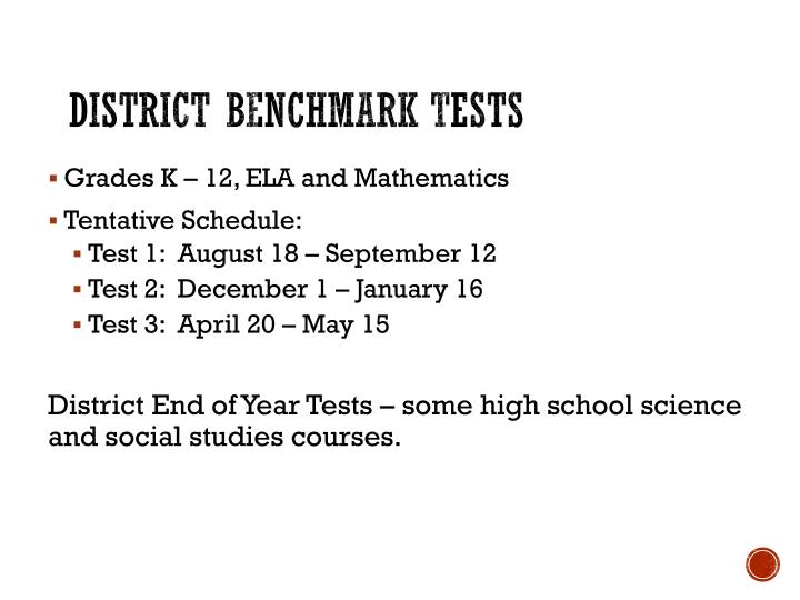 District Benchmark Tests