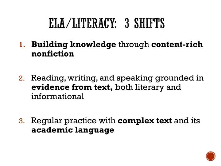 ELA/Literacy:  3 shifts