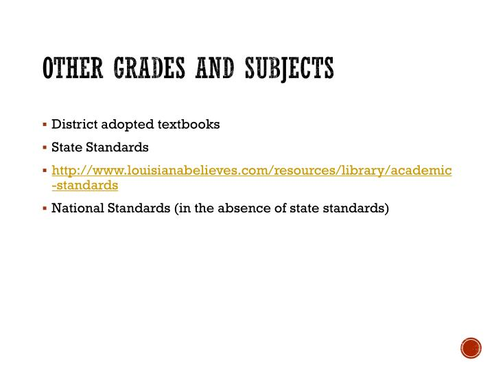 Other grades and subjects