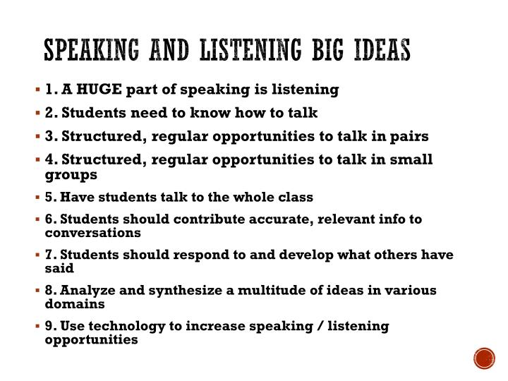 Speaking and Listening Big ideas