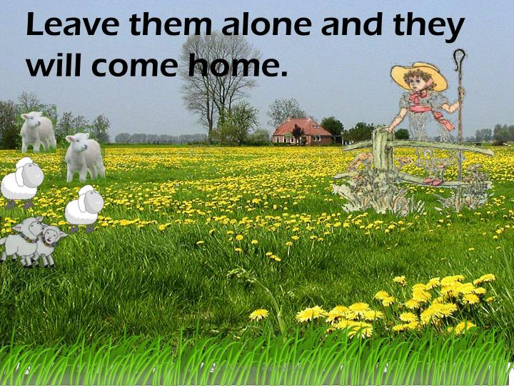Leave them alone and they will come home.