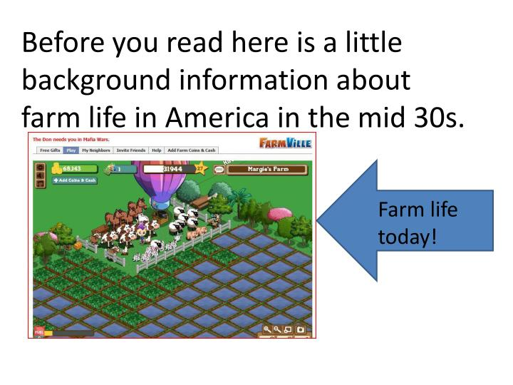 Before you read here is a little background information about farm life in America in the mid 30s.
