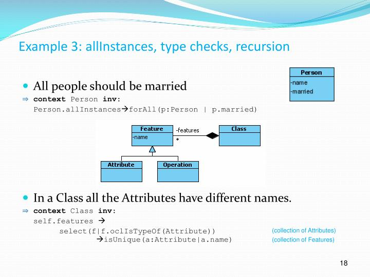 Example 3: allInstances, type checks, recursion
