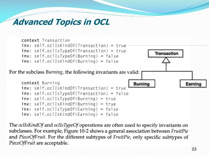 Advanced Topics in OCL