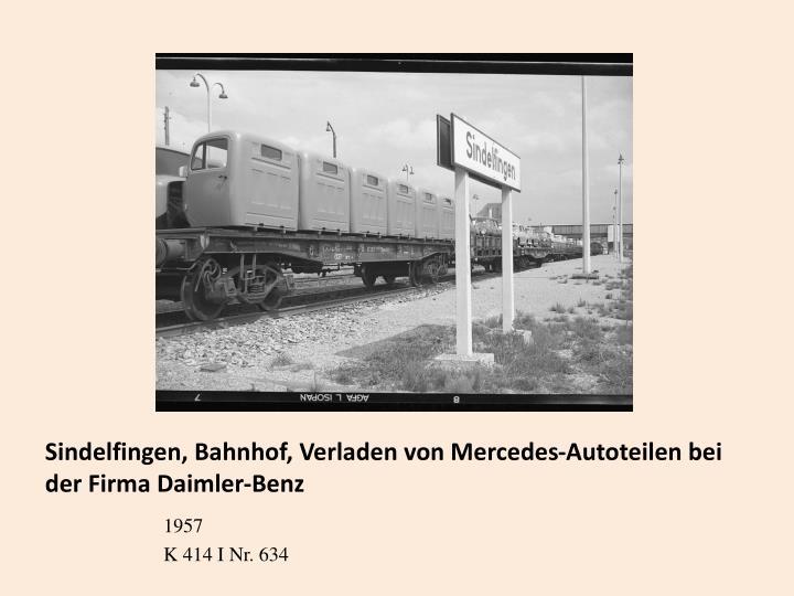 Sindelfingen, Bahnhof, Verladen von Mercedes-Autoteilen bei der Firma Daimler-Benz
